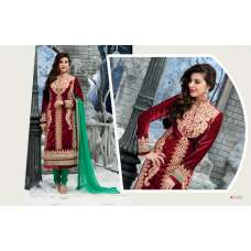 Red and Green RIVAA  DESIGNER VELVET DRESS