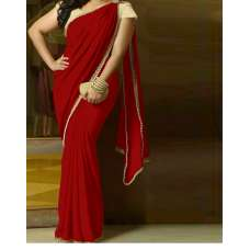 Stunning Georgette Pearl Embroidered Saree with heavy pearl blouse