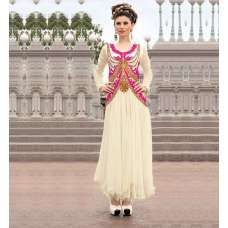 WHITE 21016 ANGEL PARTY WEAR GEORGETTE GOWN with free Legging