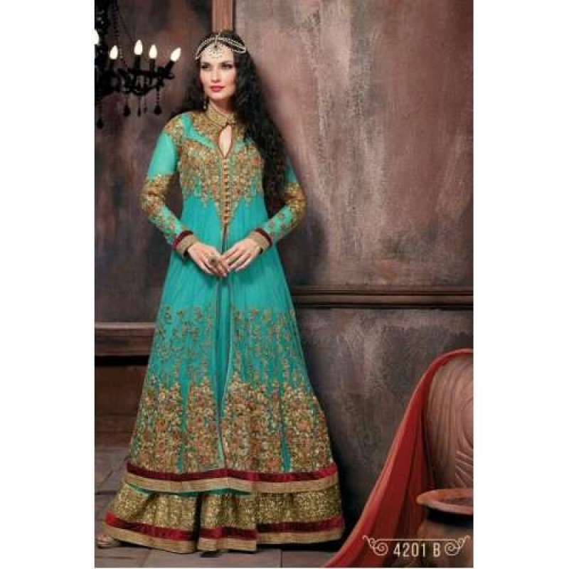 TEAL INDIAN BRIDAL DRESS AT ASIANCOUTURE