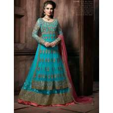 "4302 SKY BLUE ""CELEBRITY ISSUE"" FLOOR LENGTH EMBROIDERED ANARKALI SUIT"