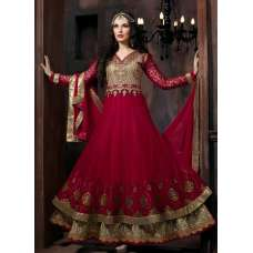 "4301 RED ""CELEBRITY ISSUE"" FLOOR LENGTH EMBROIDERED ANARKALI SUIT"