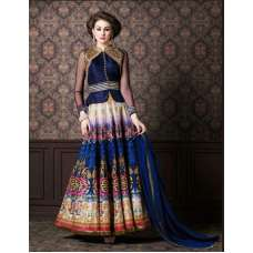 4704 BLUE CHENAB DESIGNER EMBROIDRED ANARKALI SUIT