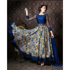 4710 BLUE CHENAB DESIGNER EMBROIDRED FLORAL ANARKALI SUIT