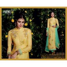 5302 Yellow And Sky Blue Straight Heer Designer Suit