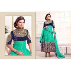 Blue and Ferozi WEDDING WEAR HEAVY EMBROIDERED ANARKALI