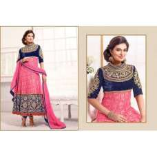 Blue and Pink WEDDING WEAR HEAVY EMBROIDERED ANARKALI