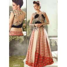 Red and Black Zoya Empress Nonpareil splash lehenga dress