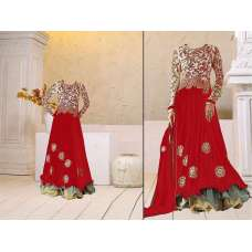 Fiesta Red Georgette Floor Length Anarkali Dress
