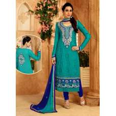 Sea Green KARISHMA GEORGETTE LONG LENGTH STRAIGHT SUITS