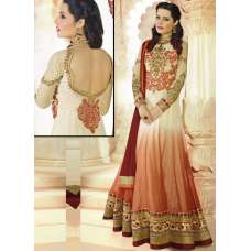 Cream and Red AAFREEN PARTY WEAR GEORGETTE ANARKALI LONG DRESS