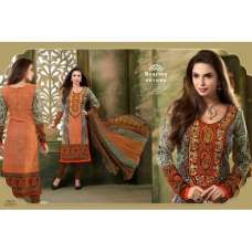 Orange and Black AARZOO PARTY WEAR PASHMINA LONG SHALWAR SUIT