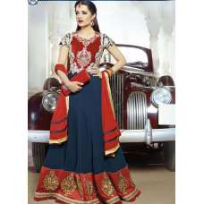Snorkel Blue and Red Celina Jaitley Georgette Floor Length Anarkali Suit
