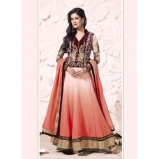 Pink and Brown Miraculous Embroidery Floor Length Anarkali Suit