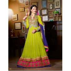 Lime Green Jacqueline Fernandez KICK Anarakali Dress