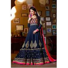 Navy Blue with Pink Jacqueline Fernandez KICK Anarakali Dress