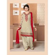 Beige KASEESH PRACHI PARTY WEAR SHALWAR KAMEEZ - BEIGE