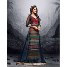 Red with Net Blue MAISHA MASKEEN ADDICTION Designer Anarkali Suit