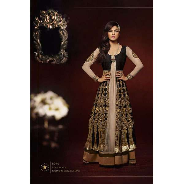 1d4affc51f Black with Gold Priyanka Chopra HEROINE Lime Light Designer Dress