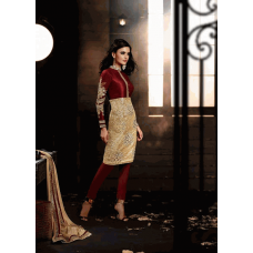 Maroon and Gold HEROINE Straight Cut Designer Dress