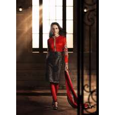 Red and Black HEROINE Straight Cut Designer Dress