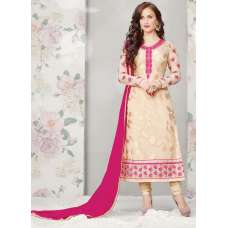 Gold with Red Statuesque Party Wear Brasso Churidar Shalwar Suit