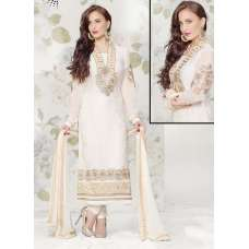 White Statuesque Party Wear Brasso Churidar Shalwar Suit