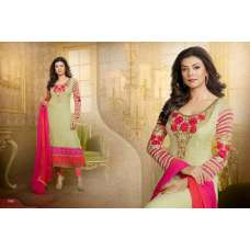 Cream Sushmita Sen Pure Georgette Straight Suit