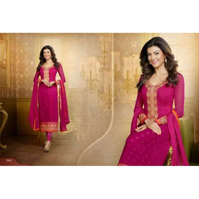 11daee9074 Pink Sushmita Sen Pure Georgette Straight Suit- Beautiful Sushmita Sen Pure  Georgette Straight Suit