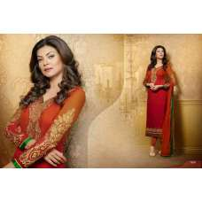 Pink with Brown Sushmita Sen Pure Georgette Straight Suit