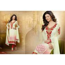 White with Red Sushmita Sen Pure Georgette Straight Suit