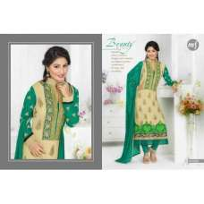 Cream with green HEENARI PARTY WEAR GEORGETTE SHALWAR SUIT