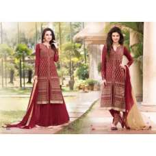 Red Arjaan 3 Georgette Long Length Designer Dress
