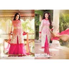 Rose Quartz Pink Arjaan 3 Georgette Long Length Designer Dress