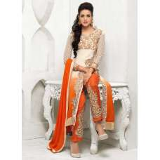 Orange and White BARONIAL PARTY WEAR SALWAR SUITS