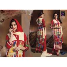 Red and Cream Crispy GEORGETTE Summer Wear Salwar Kameez