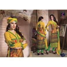 Yellow Crispy GEORGETTE Semi Stitched Salwar Kameez