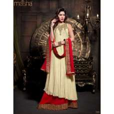 Z2101 Cream and Red DEBONAIR WITH MASKEEN WEDDING WEAR DESIGNER DRESS