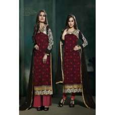 Red and Black Lilly Fiona Long Length Party Wear Salwar Kameez