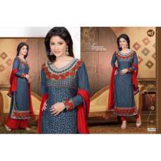 Grey and Red HASEENA 2 PARTY WEAR SHALWAR KAMEEZ