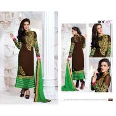 "Dark Brown and Green ""HOTLADY"" BY MEHZABI PARTY WEAR LONG STRAIGHT SALWAR KAMEEZ"
