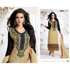 "Gold and Black ""HOTLADY"" BY MEHZABI PARTY WEAR LONG STRAIGHT SALWAR KAMEEZ"