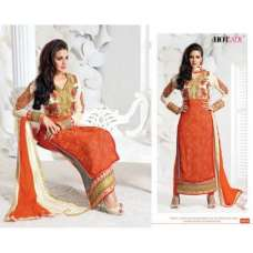 "Orange ""HOTLADY"" BY MEHZABI PARTY WEAR LONG STRAIGHT SALWAR KAMEEZ"
