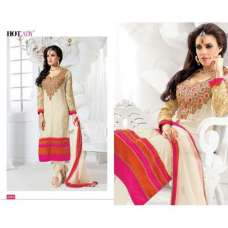 "Pink ""HOTLADY"" BY MEHZABI PARTY WEAR LONG STRAIGHT SALWAR KAMEEZ"