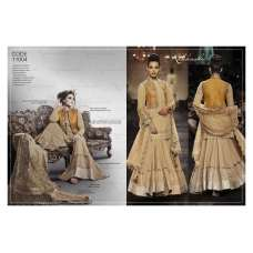 Biege Mustard Nakkashi Fall of Grace Designer Wear Dress