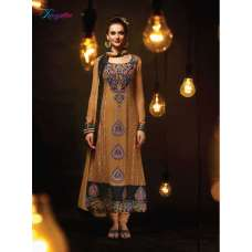 Brown RANGSUTRA PARTY WEAR GEORGETTE CHURIDAR LONG SALWAR SUIT