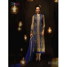 Gold and Blue RANGSUTRA PARTY WEAR GEORGETTE CHURIDAR LONG SALWAR SUIT