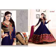 Blue SATHIYA BY SAINX DESIGNER WEAR ANARKALI SEMI STITCHED SUIT