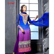 Blue and Purple SAJEELE BY SAINX PARTY WEAR SHALWAR KAMEEZ