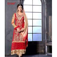 Fiesta Red and Golden SAJEELE BY SAINX PARTY WEAR SHALWAR KAMEEZ